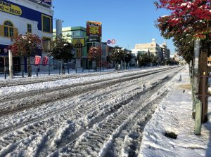 相模原市中央区の道路積雪